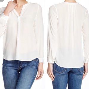Joie white silk v neck blouse